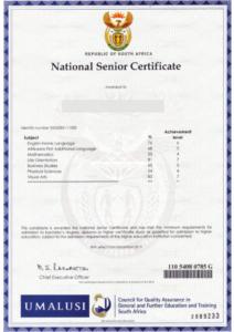 Matric Certificate-Bachelor pass achievement