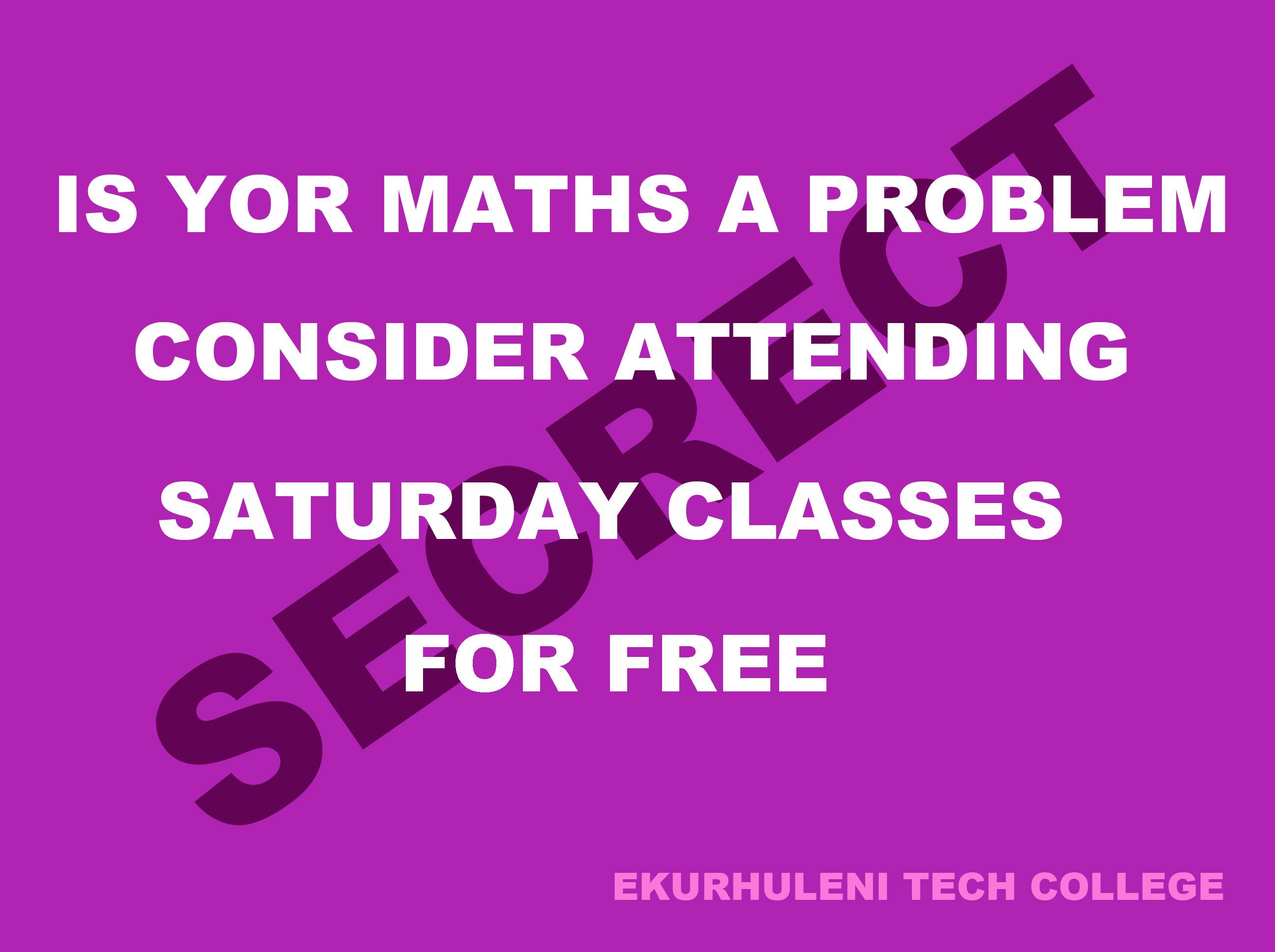 FREE Saturday Maths Classes-Krugersdorp