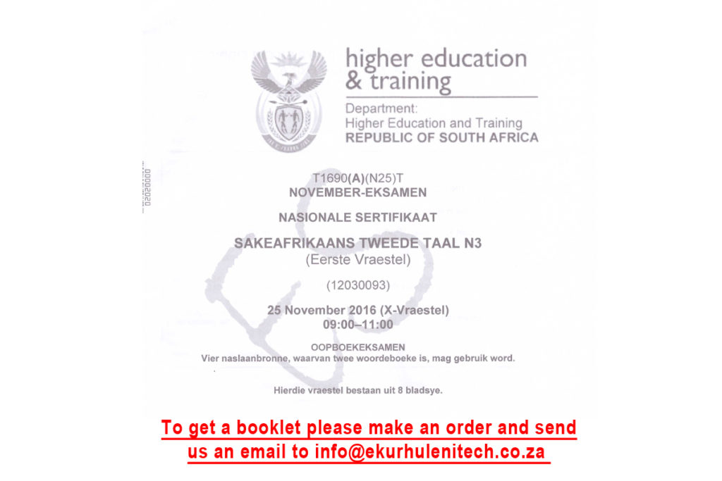 Sake Afrikaans N3 Ekurhuleni Tech College