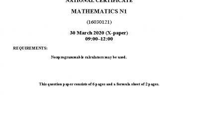 Mathematics N1 Question Paper review April 2020