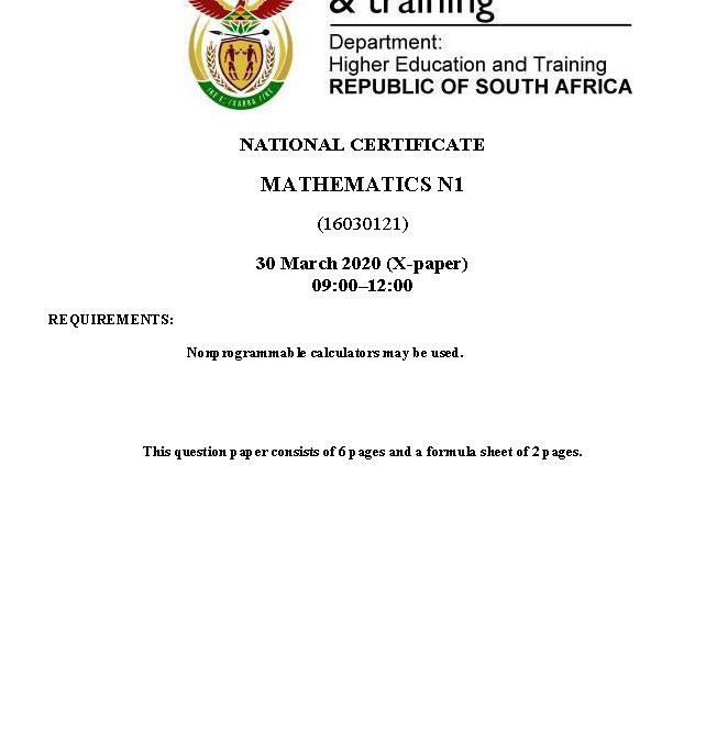Mathematics N1 April 2020 Exam Paper